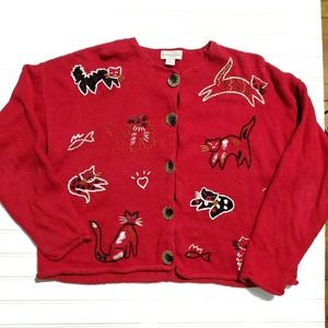 Vintage Cat and Fishbone Red Granny Sweater XL XXL